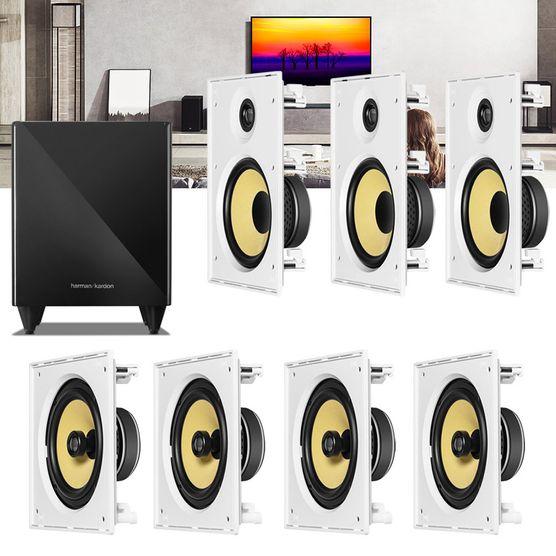 Kit Home Theater 7.1 JBL Caixa de Embutir CI8R + CI8S + Sub 210 Residencial Gesso