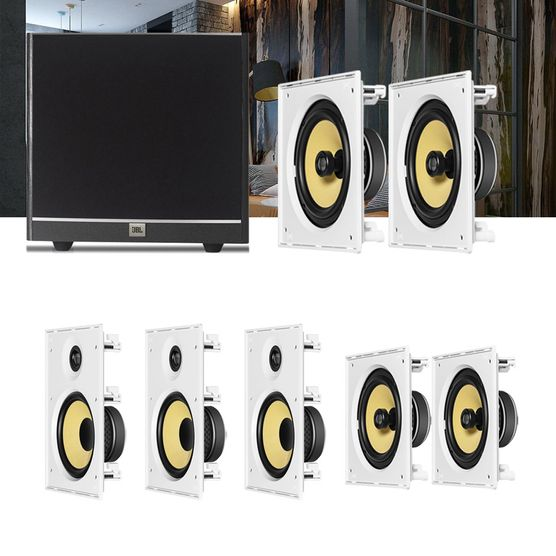 Kit Home Theater 7.1 JBL Caixa de Embutir CI8R + CI8S + Sub 100 Residencial Gesso