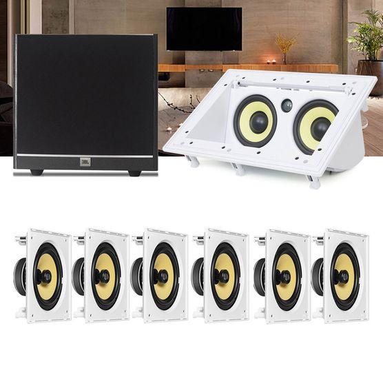 Kit Home Theater 7.1 JBL Caixa de Embutir CI8S + Canal Central CI55RA + Sub 100 Residencial Gesso