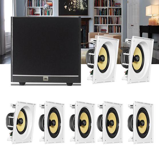 Kit Home Theater 7.1 JBL Caixa de Embutir CI8SA + CI8S + Sub 100 Residencial Gesso