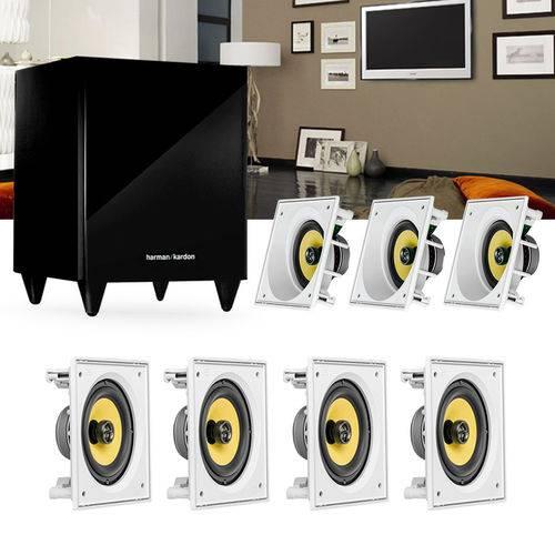 Kit Home Theater 7.1 Jbl Caixa de Embutir Residencial Gesso Ci6sa + Ci6s + Sub 210