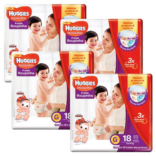 Kit Huggies Fralda Supreme Care Roupinha Jumbo G 18 Unidades 4 Pacotes