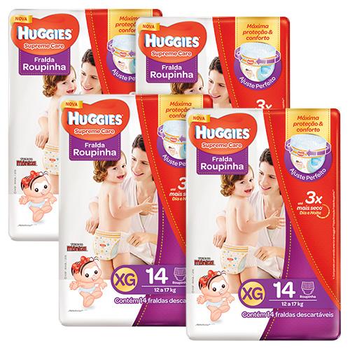 Kit Huggies Fralda Supreme Care Roupinha Jumbo Xg 14 Unidades 4 Pacotes