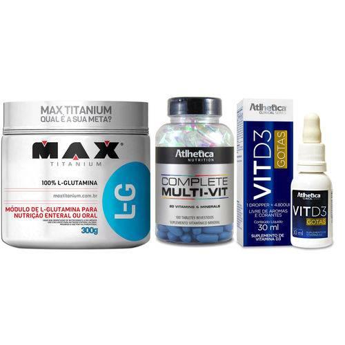 Kit Imunidade -Glutamina + Multivitamínico + Vitamina D