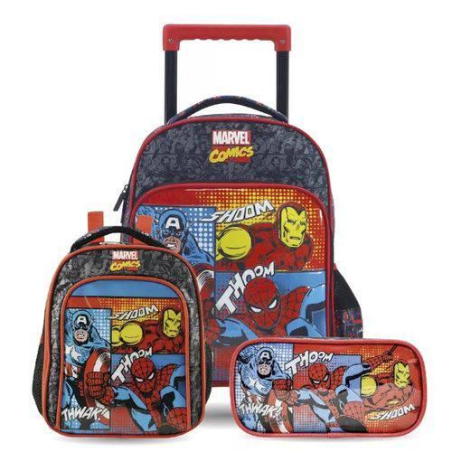 Kit Infantil Marvel Quadrinhos Mochilete, Lancheira e Estojo