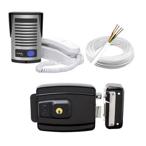 Kit Interfone Porteiro Eletrônico Agl P100 + Fechadura Elétrica Reversível + Cabo