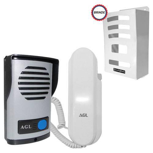 Kit Interfone Porteiro Eletrônico AGL P100 Monofone Protetor