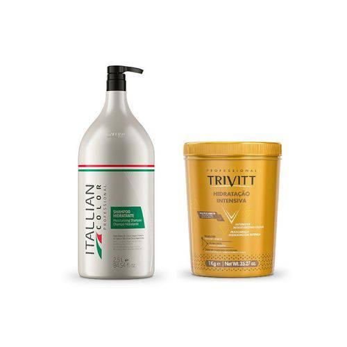 Kit Itallian Shampoo Lavatório 2,5l e Mascara Hidratação 1kg
