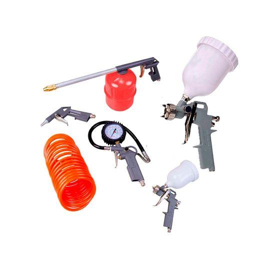 Kit Jogo Acessórios P/Compressor Tanque Alto 5PÇ+Pistola P/Pintura Tanque Alto