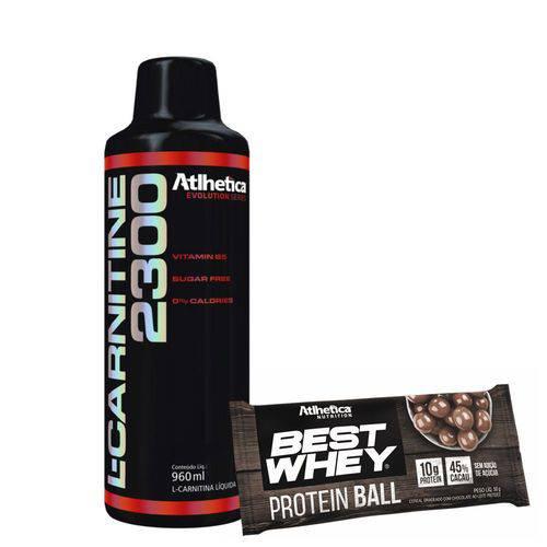 Kit Kfit L-carnitine 2300 Limonada Best Whey Protein Ball Chocolate ao Leita