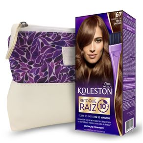 Kit Koleston Retoque de Raiz 67 Chocolate + Necessaire Estampa Gota