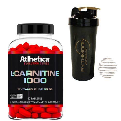 Kit L Carnitine 1000 60 Caps + Coqueteleira 600ml com Mola