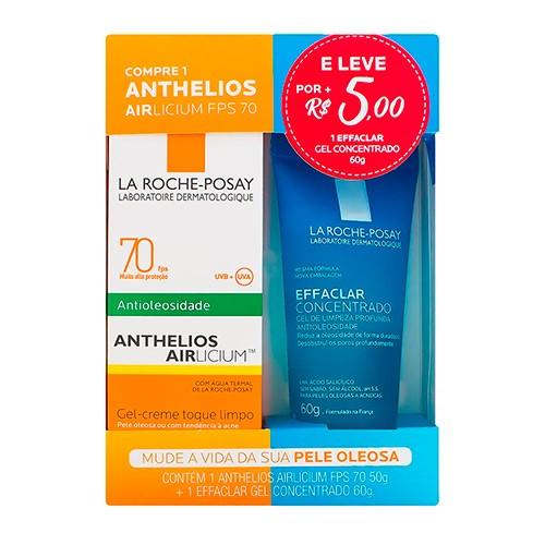 Kit La Roche-Posay Protetor Solar Facial FPS 70 50g + Gel Concentrado Effaclar 60g