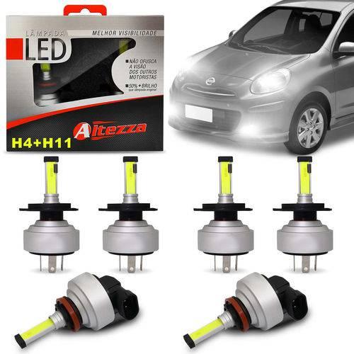 Kit Lâmpadas Led Altezza Nissan March 11 a 19 H4 e H11 6500k 12v 3000 Lúmens Faróis Alto Baixo Milha
