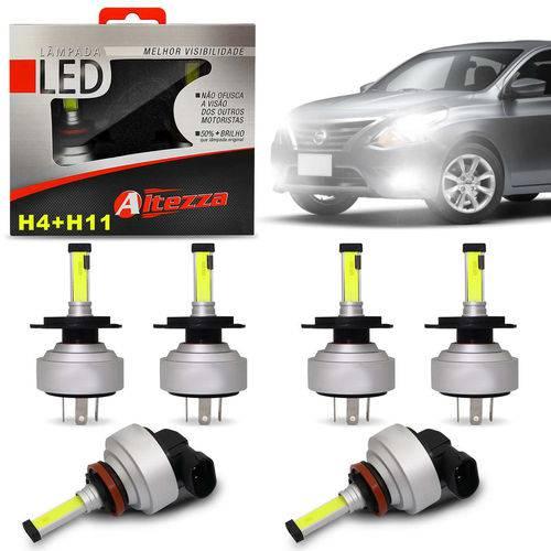 Kit Lâmpadas Led Altezza Nissan Versa 11 a 19 H4 e H11 6500k 12v 3000 Lúmens Faróis Alto Baixo Milha