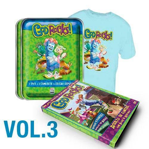 Kit Lata - 1 Dvd God Rocks - (Episódio 3) + Camiseta Azul - (Tamanho 10 Anos)