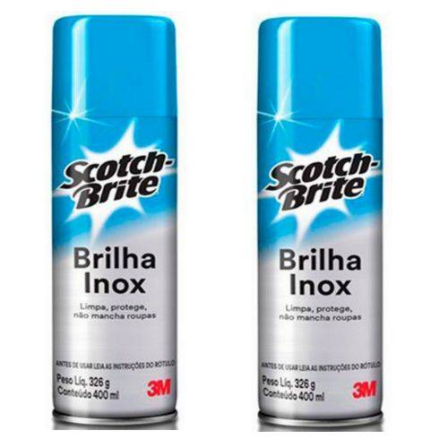 Kit 2 Latas Spray Scotch Brite Brilha Inox 400ml 3M