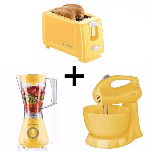 Kit Liquidificador+batedeira+torradeira Cadence Amarelo 127v