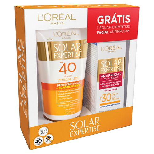 Kit Loreal Protetor Solar Repelelnte FPS40 120ml + Antirrugas FPS30 25g