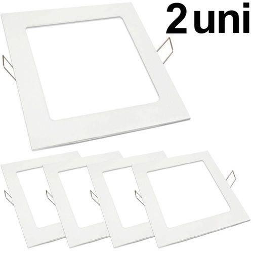 Kit 2 Luminária Plafon Led 25w Embutir Quadrado Branco Frio