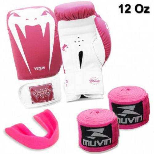 Kit Luva Boxe Venum Giant Rosa 12 Oz + 2 Bandagens + Protetor Bucal