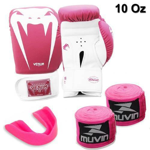 Kit Luva Boxe Venum Giant Rosa 10 Oz + 2 Bandagens + Protetor Bucal