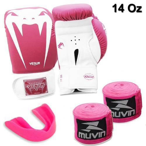 Kit Luva Boxe Venum Giant Rosa 14 Oz + 2 Bandagens + Protetor Bucal