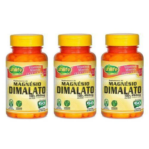 Kit 3 Magnésio Dimalato - Unilife - 60 Cápsulas