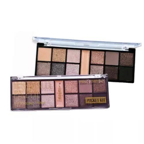 Kit Maquiagem Ruby Rose Paleta Sombra 12 Cores + Primer 3d Desert Nude Palette