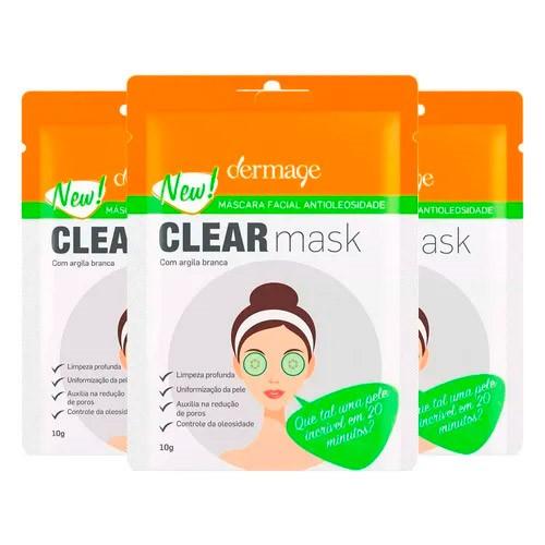 Kit Máscara Facial Antioleosidade Dermage 10g 3 Unidades
