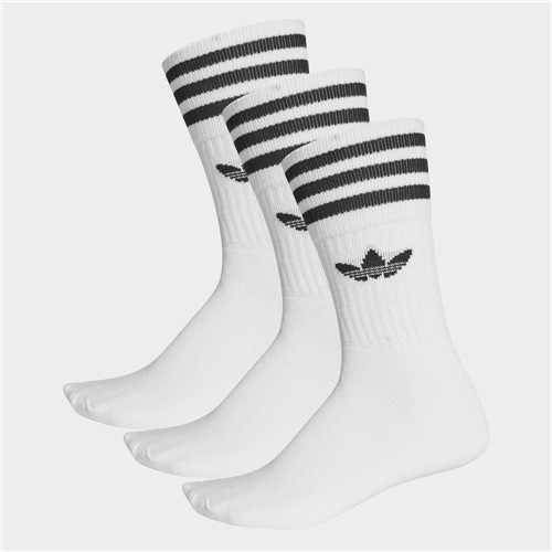 Kit Meia Adidas Solid Crew Cano Longo- 3 Pares S21489
