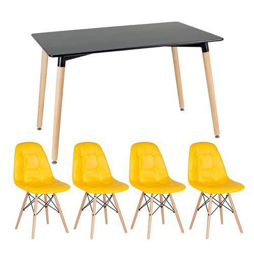 KIT - Mesa Eames 120 X 80 Cm Preto + 4 Cadeiras Eames Botonê