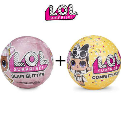 Kit Mini Boneca Lol Glam Gliter + Lol Confetti Pop