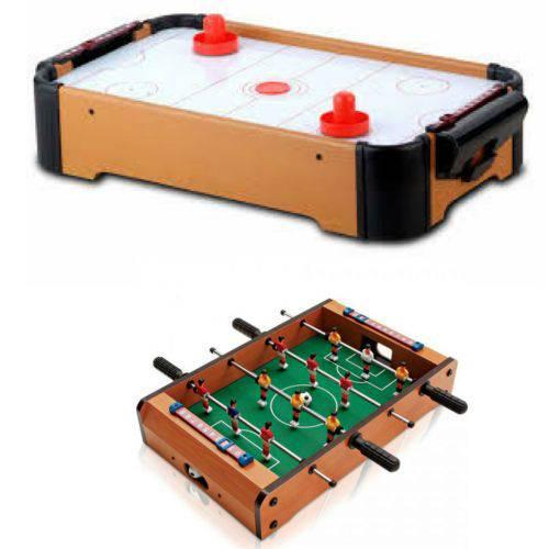 Kit Mini Mesa Hockey e Mini Mesa de Pebolim Futebol