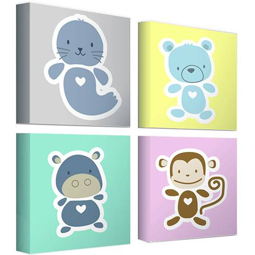 Kit Mini Quadros Animals Baby (20x20x18cm) - Haus For Fun