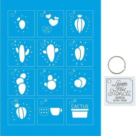 Kit Mini Stencil Chaveiro Cactos - STMI-006