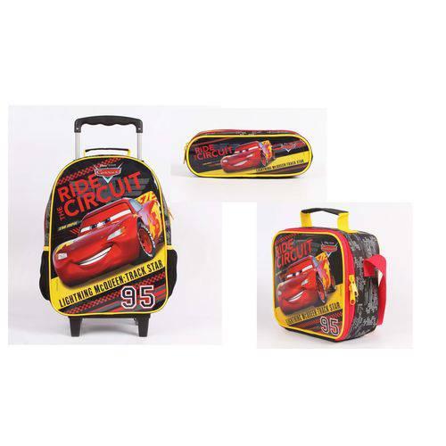 Kit (mochila Rodinha + Lancheira + Estojo) Disney Carros Original