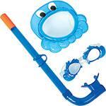 Kit Natação Infantil Snorkel + Óculos + Máscara Azul - Bestway
