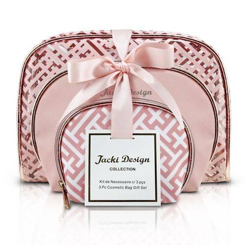 Kit Necessaire Bolsinha 3 Peças Maquiagem e Acessorios Diamantes Jacki Design Rosa Gold