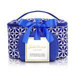 Kit Necessaire 2 em 1 Geométrica Azul Poliéster + PVC Jacki Design