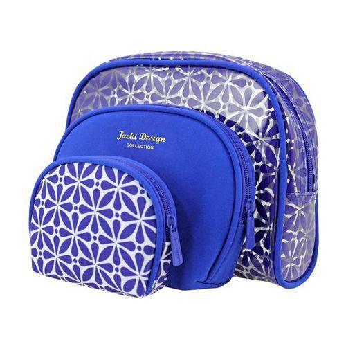 Kit Necessaire 3 em 1 Geométrica Étnica Poliéster e Pvc Azul - Jacki Design - Jacki Design