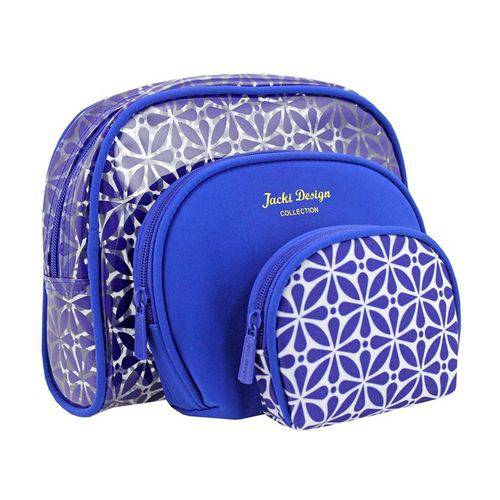Kit Necessaire 3 em 1 Geométrica Jacki Design ABC16109-AZ