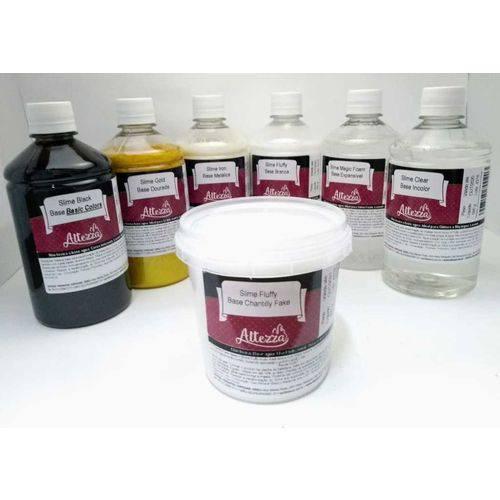 Kit P/ Slime 1 Cola Branca, 1 Transparente, 1 Dourada,1 Metálica 1 Black, 1 Expansível, 1 Chantilly 1 Neve Artificial