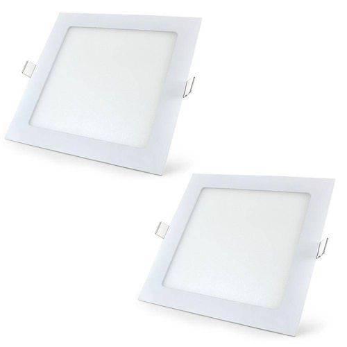Kit 2 Painel Plafon 18w Luminaria Led Quadrado Embutir Slim