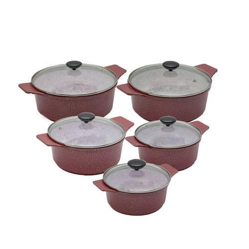 Kit Panelas Plus em Alumínio Fundido Revestimento Cerâmica Antiaderente 5 Peças Casa Dona Vermelho