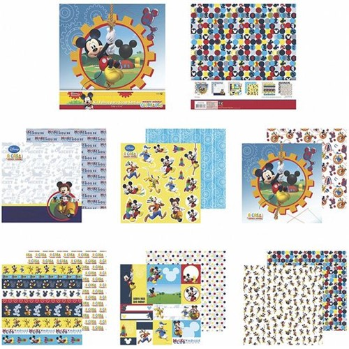 Kit Papel Scrapbook Toke e Crie SDFD139 Dupla Face 30,5x30,5cm com 12 Folhas Sortidas Disney a Casa do Mickey Mouse
