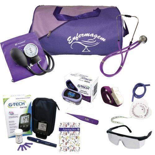 Kit 2 para Enfermagem Bolsa Roxa C/ Aparelho Roxo