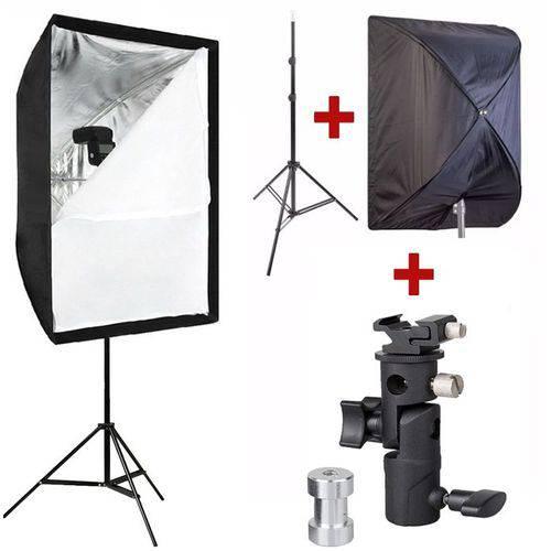 Kit para Flash Speedlight C/ Tripé Softbox 60x90 e Suporte Ls24