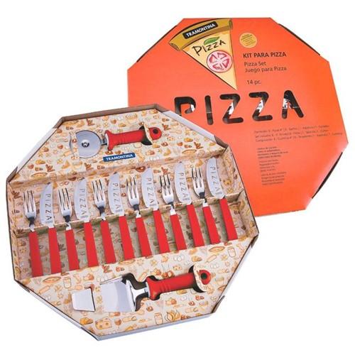 Kit para Pizza Vermelho 14 Peças Tramontina Vermelho