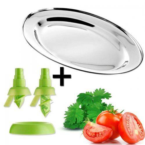 Kit para Salada com Travessa Oval em Inox + Spray Burrificador Limao e Laranja